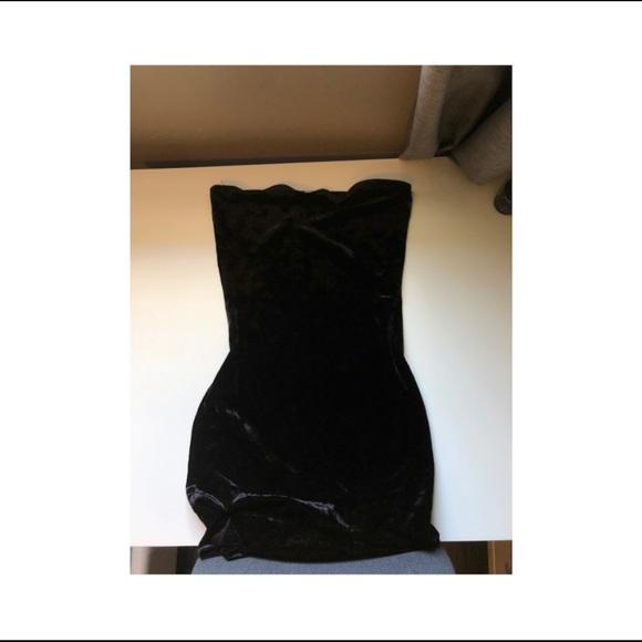 Garage velvet strapless dress
